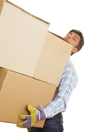 Man carrying three huge cardboard boxes Stock Photo - 5261948