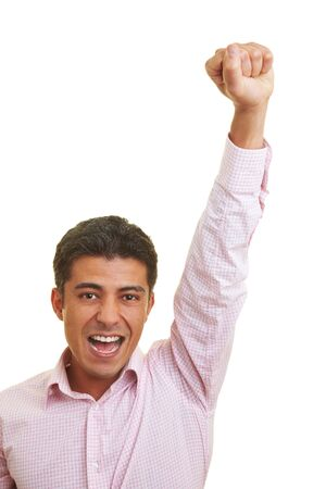 Man cheering with clenched fist Stock Photo - 5261939