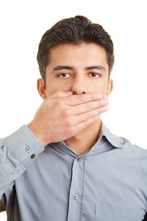 man mouth: Man covering his mouth with his hand