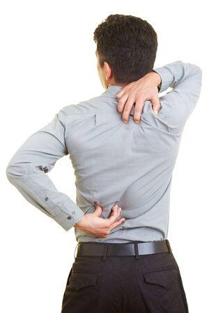 jeuken: Man met pijn in zijn rug Stockfoto