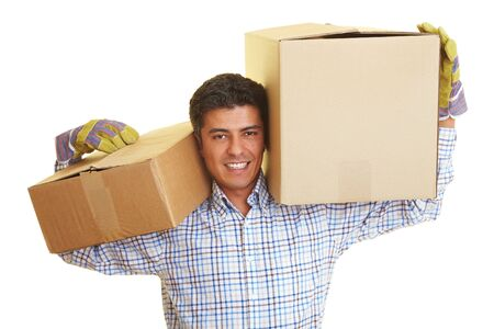 appy man carrying to boxes on his shoulders photo