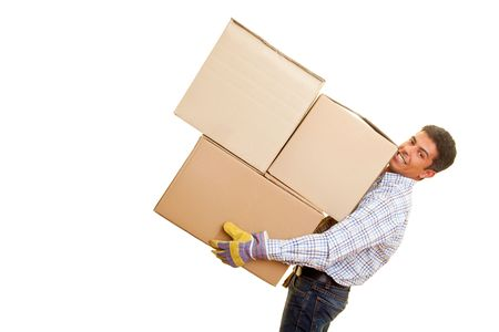 mover: Smiling man carrying heavy boxes