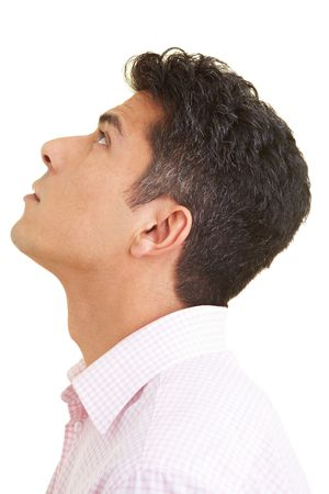 head shot: Man with shirt looking up
