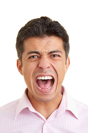 Man screaming into the camera