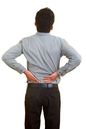 Man standing with pain in his back Stock Photo - 5285598