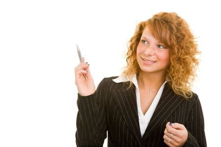 Young redhaired woman in a business suit Stock Photo - 5288797