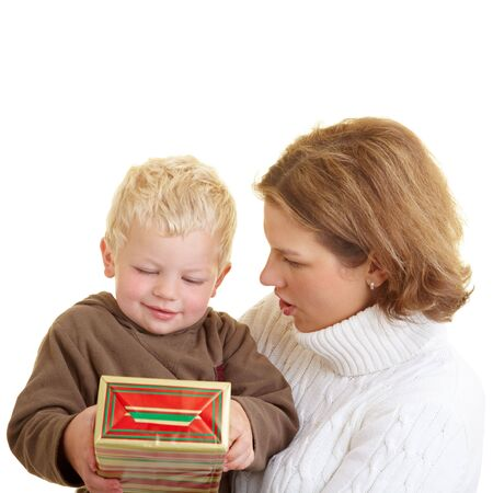 baby open present: Mother and son with a gift
