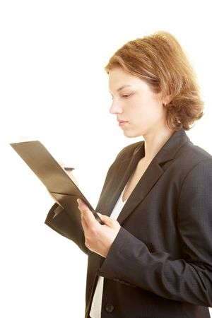 Business woman holding a checklist Stock Photo - 5296291