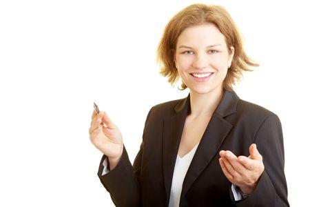 Feliz consultor entrega de un discurso