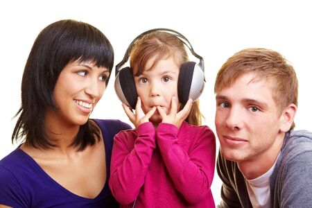 audio book: Girl with headphones listening to an audio book Stock Photo