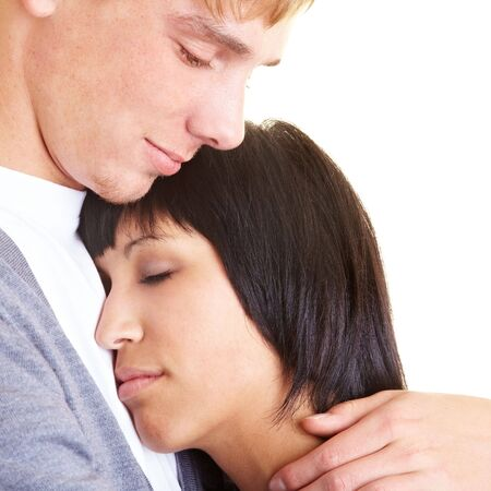 Woman sleeping on the shoulder of his boyfriend photo