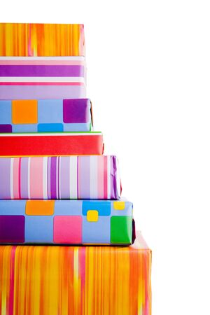 Stack of many colorful christmas gifts on the floor Stock Photo - 5624660