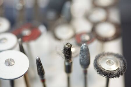surgery tools: Burs and polishers and drills in a dental lab