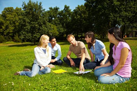 discussion group: Group of students learning on campus of university