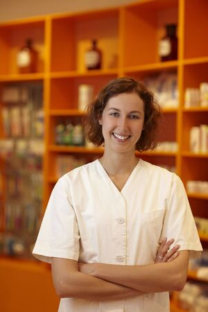 Portrait of a smiling pharmacist in pharmacy Stock Photo - 6066867