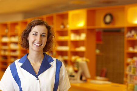 Portrait of a smiling pharmacist in pharmacy Stock Photo - 6066862