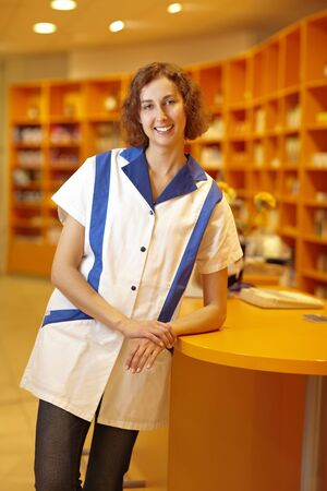 Portrait of a smiling pharmacist in pharmacy Stock Photo - 6066901