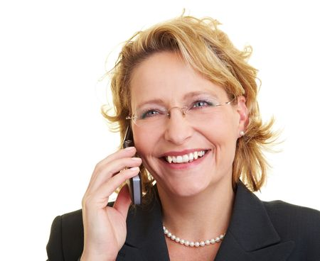 Happy business woman using her cell phone Stock Photo - 6200359