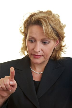 Business woman pressing her finger on a glass plate photo