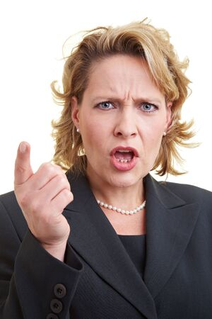 admonish: Business woman ranting and shaking her finger