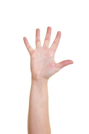 pinkie: Hand stretching out all five fingers on white Stock Photo