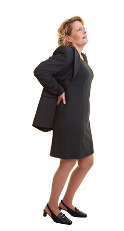 lean back: Business woman pressing her hands against her back Stock Photo