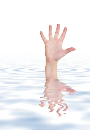 cry for help: Drowing person reaching with hand out of water