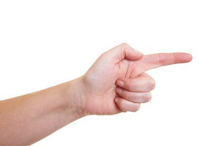집게 손가락: Hand with extended forefinger on white background 스톡 사진