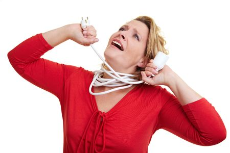 cable tangle: Woman strangling herself with an extension cable