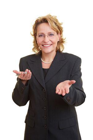 spokesman: Business woman in grey jacket giving a speech