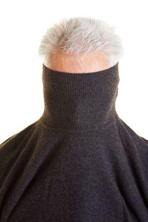 turtleneck: Shy older man hiding behind his turtleneck sweater