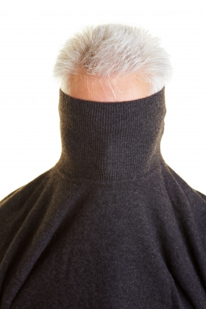 hideout: Shy older man hiding behind his turtleneck sweater