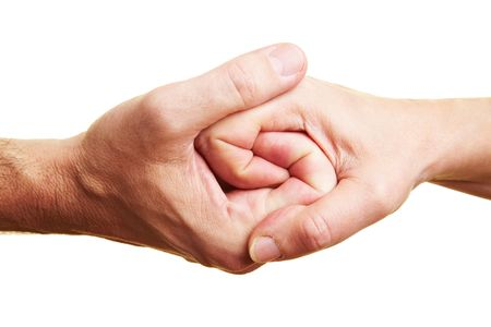 games hand: two people holding their hands tight together