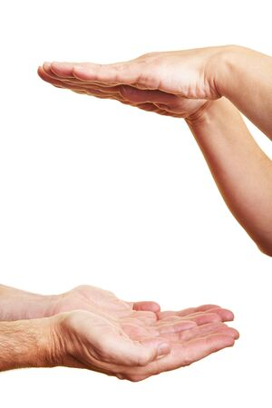 Two people holding their hands flat Stock Photo - 6375716