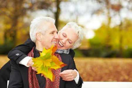 fondling: Happy senior couple in an autumn forest