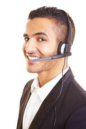 assistent: Happy businessman with headset on his head