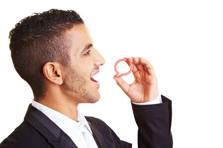 Young manager holding speech bubble in front of his mouth Stock Photo - 6408890