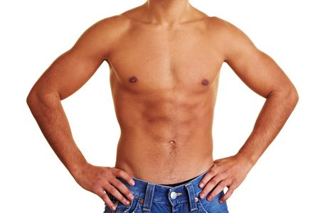 hombre desnudo: Joven sano con la parte superior del cuerpo desnudo