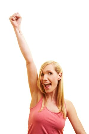 Happy woman cheering with her clenched fist Stock Photo - 6735751