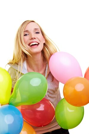 Young happy woman holding many colorful balloons Stock Photo - 6735724