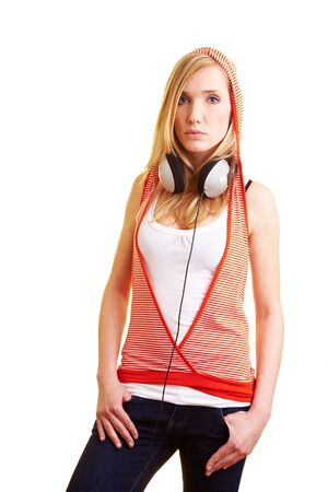 hoody: Young blonde woman with headphones and hoody Фото со стока