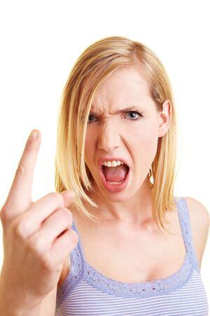 dedo indice: Joven rubia levantar su dedo �ndice