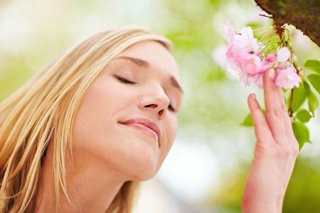 Jonge vrouw ruiken de bloemen op een kersenboom.  Stockfoto