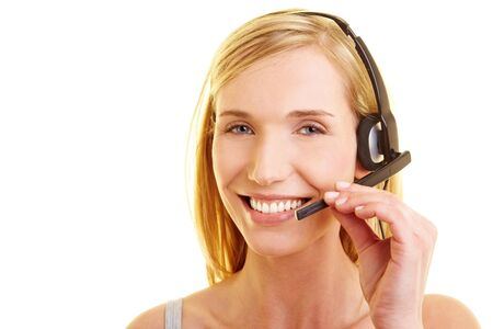 Happy young woman with headset on her head photo