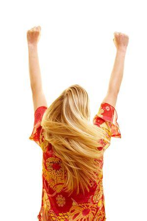 mujer de espaldas: Animando la mujer por detr�s con volar el pelo y cerrados los pu�os