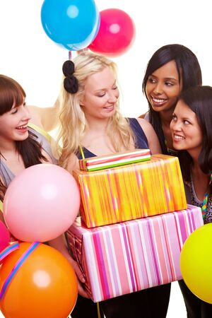 Four happy young women with gifts and balloons Stock Photo - 7222636
