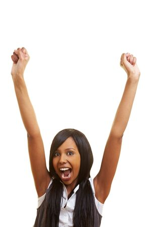 Young african woman cheering with her fists in the air Stock Photo - 7222650