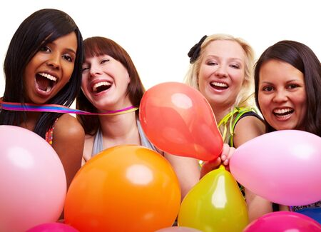 suspense: Four happy young women with many colorful balloons