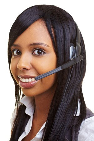Young happy african woman with headset smiling photo