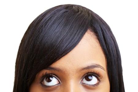 persona confundida: Detalle de una joven Africana looking up  Foto de archivo